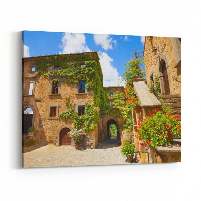 Main Gates And Buildings To Bagnoregio Town Lazio Italy Canvas Wall Art Print