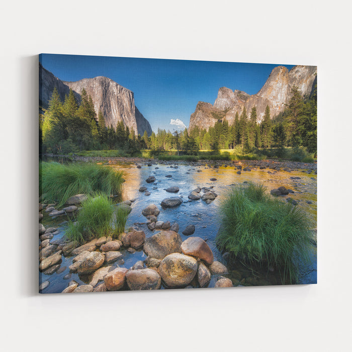 Typical View Of The Yosemite National Park Canvas Wall Art Print