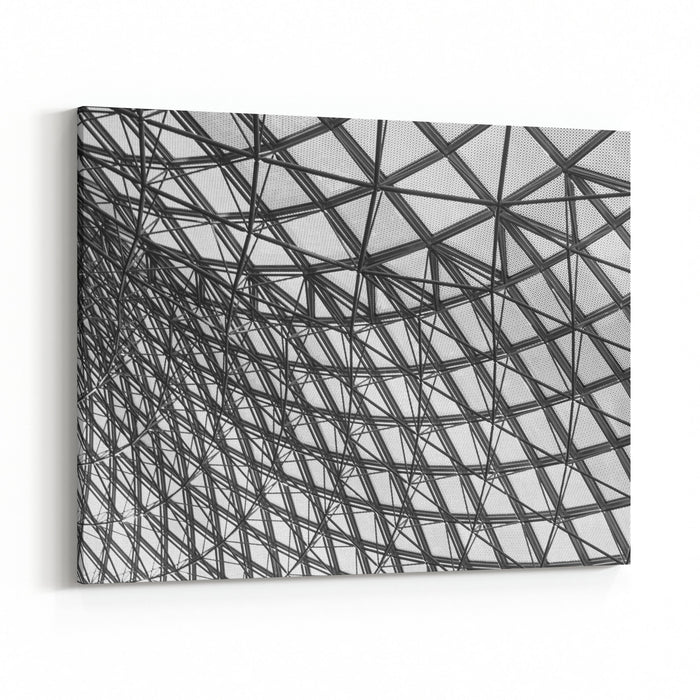 Grey Geometric Abstract Background  Part Of A Modern Ceiling Canvas Wall Art Print