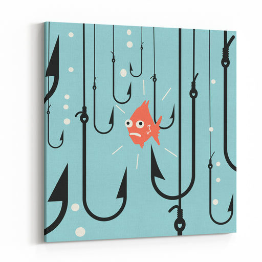 Abstract Background On Risk Business Concept, Metaphor To Small Fish Being In Danger Among Many Hooks Canvas Wall Art Print