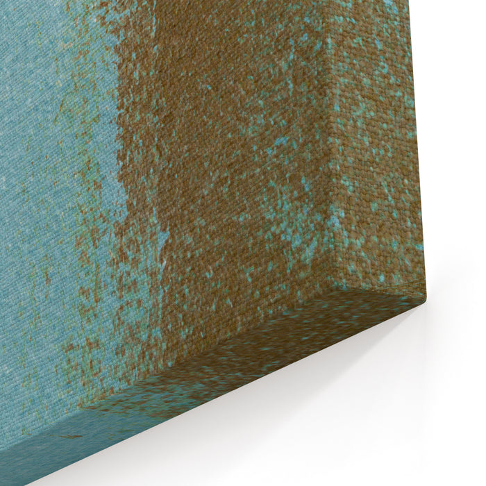 Blue And Brown Abstract Art Painting Canvas Wall Art Print
