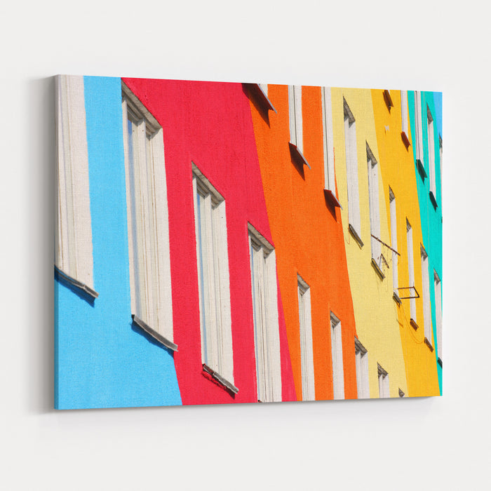 Blue, Red, Green, Orange Homes Canvas Wall Art Print