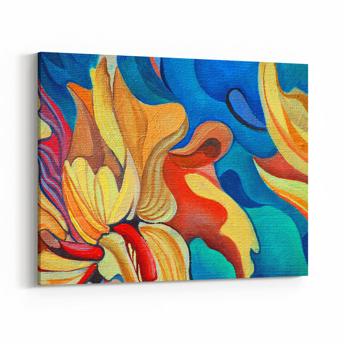 Decorative Flower Painting By Oil On Canvas, Illustration Canvas Wall Art Print