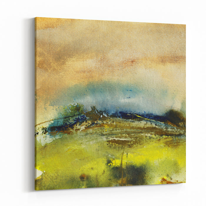 Landscape Painting On Handmade Paper, Art Background Canvas Wall Art Print
