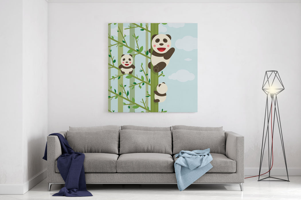 Kawaii Bears In Forest Funny Kawaii Panda Bears In Trees Vector Illustration EPS Canvas Wall Art Print