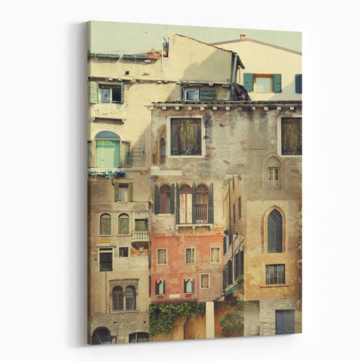 Illustration Collage Of Details Of Many Building Facades Mixed Together That Transforms In A Different Building Canvas Wall Art Print