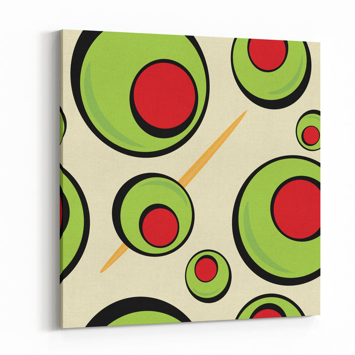 A Green Olives Pattern That Tiles Seamlessly In A Pattern In Any Direction  Great For A Martini Graphic Or Restaurant Drinks Menu Canvas Wall Art Print