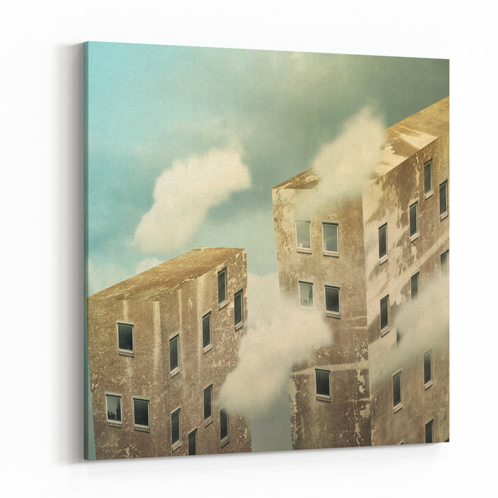 Artistic Skyscrapers In The Sky Above The Clouds Canvas Wall Art Print