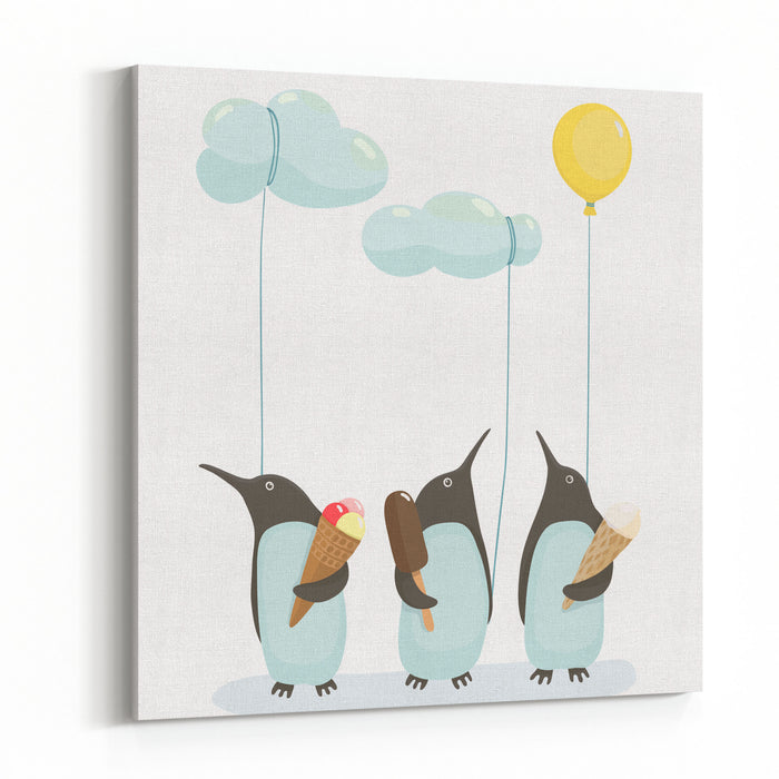 Penguins With Ice Cream Illustration Of Penguins Birds With Ice Cream Vector EPS Canvas Wall Art Print