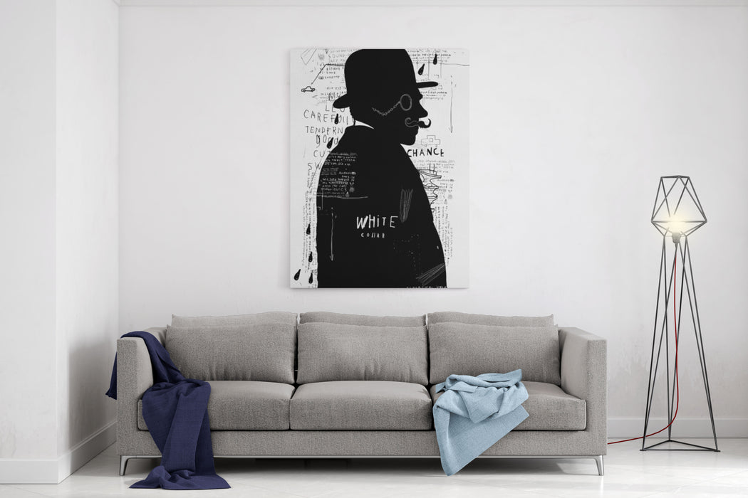 A Man In A Hat And Pincenez That Stands Alone Canvas Wall Art Print