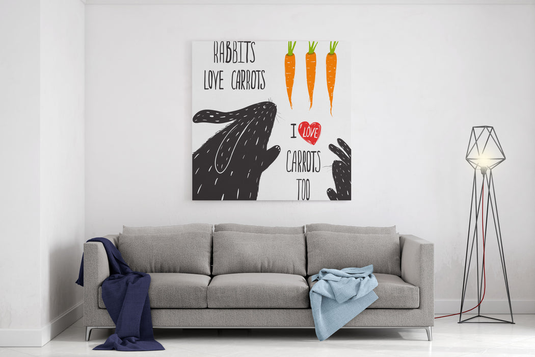 Scratchy Rabbits Love Carrots Lettering Rabbits And Carrots Illustration And Lettering Vector EPS Canvas Wall Art Print