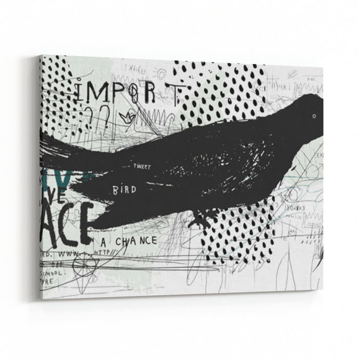 Symbolic Image Of A Bird In The Style Of Graffiti Canvas Wall Art Print