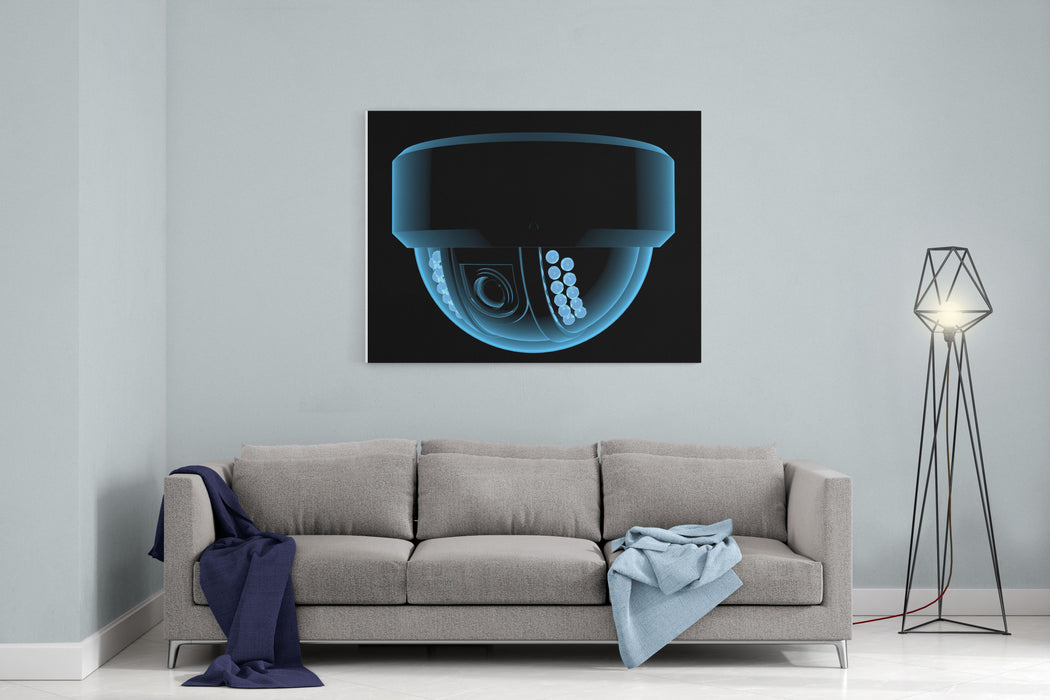 Cctv Surveillance Camera Xray Blue Transparent Isolated On Black Canvas Wall Art Print