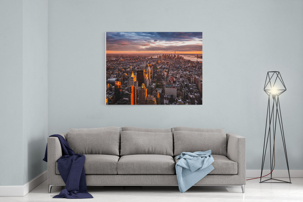 Aerial View Of The Manhattan Skyline At Sunset Canvas Wall Art Print