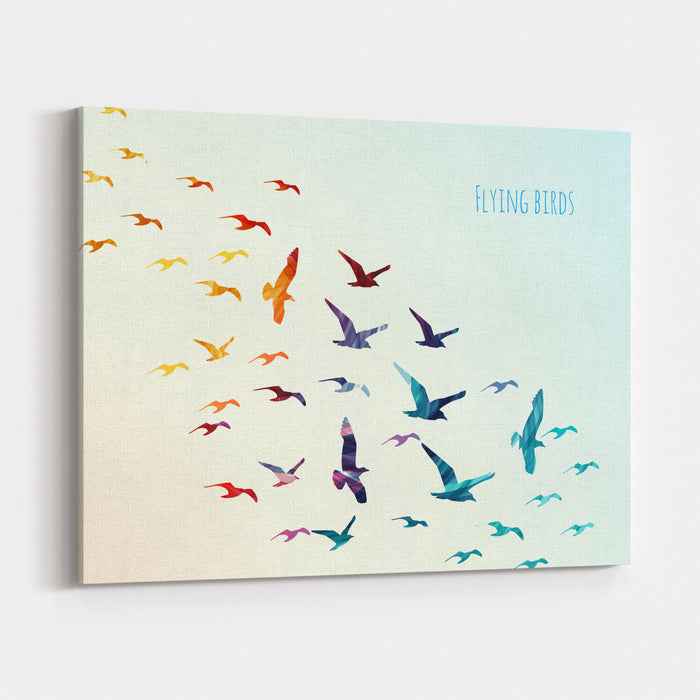 Colorful Silhouettes Of Flying Birds, Vector Illustration Canvas Wall Art Print