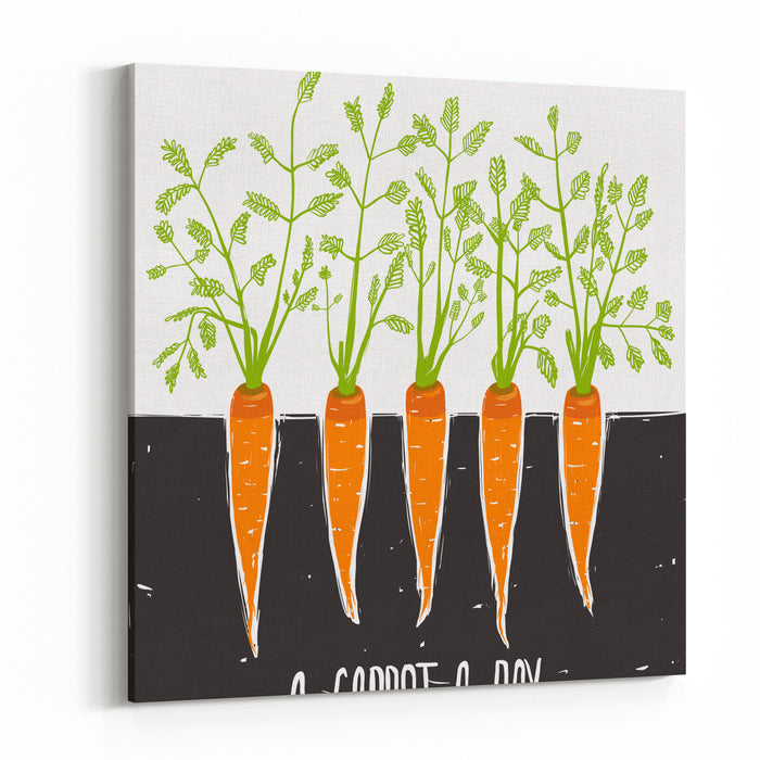 Growing Carrots Scratchy Drawing And Lettering Raster Variant Canvas Wall Art Print