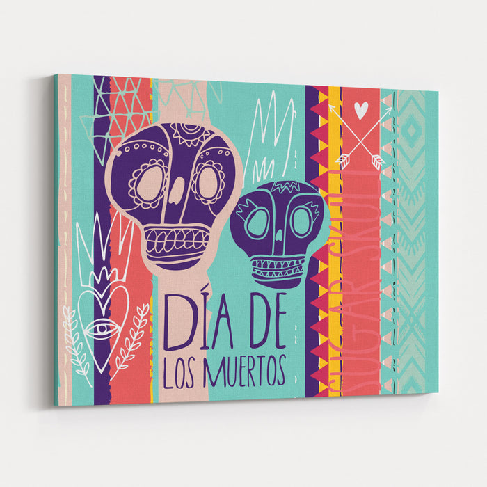 Day Of The Dead Colorful Card Skull With Heart And Fire Canvas Wall Art Print
