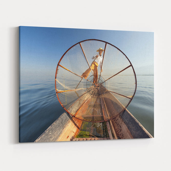 Burma Myanmar Inle Lake Fisherman On Boat Catching Fish By Traditional Net Outdoor Photography Canvas Wall Art Print