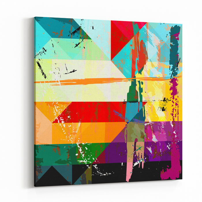 Abstract Background Composition, With Strokes, Splashes And Geometric Lines Canvas Wall Art Print
