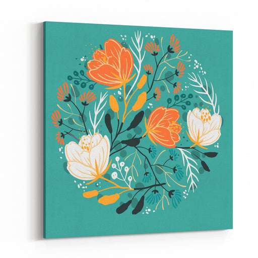 Vector Floral Illustration Of Blooming Poppies And Fantasy Plants Canvas Wall Art Print