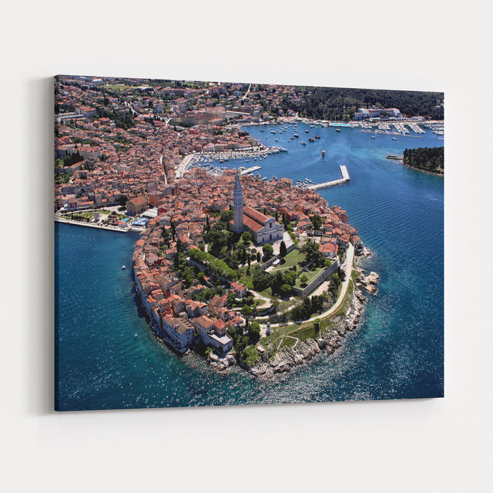 Aerial Shoot Of Old Town Rovinj, Istra Region, Croatia Canvas Wall Art Print
