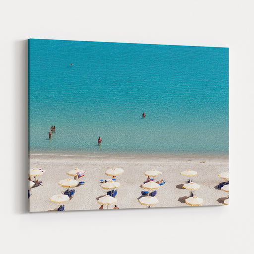 Kallithea Sunny Beach And Summer Resort At Kassandra Of Halkidiki Peninsula In Greece Canvas Wall Art Print