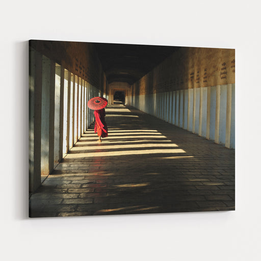 Southeast Asian Young Little Buddhist Monks Walking Morning Alms In Bagan, Myanmar Canvas Wall Art Print