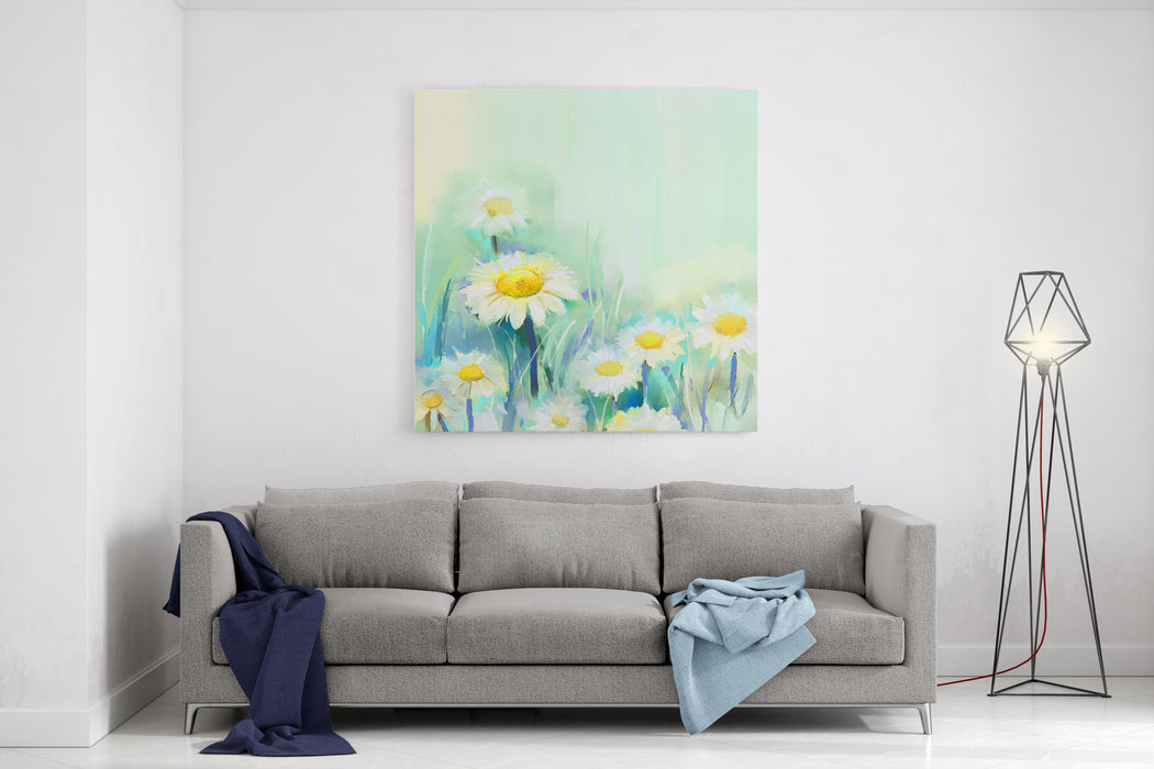 Oil Painting Daisy Flowers In Field Hand Paint White Flowers Gerbera  DaisyIn Soft Color On Green Blue Color Background Spring Flower Seasonal