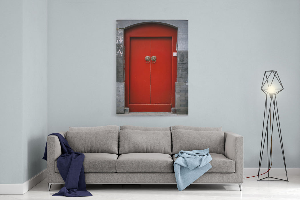 Chinese Antique Door In Beijing Hutong Canvas Wall Art Print