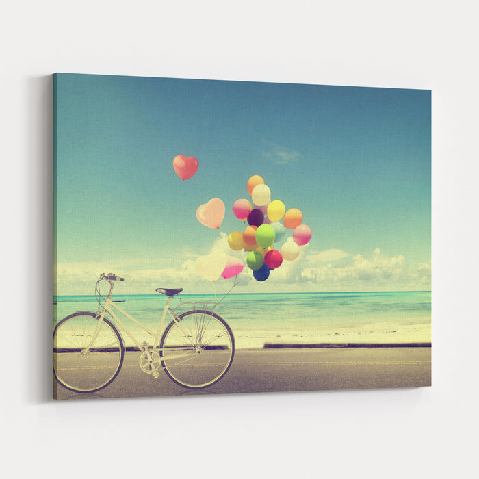 Bicycle Vintage With Heart Balloon On Beach Blue Sky Concept Of Love In Summer And Wedding Canvas Wall Art Print