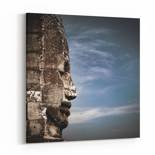 Ancient Khmer Architecture Huge Carved Buddha Faces Of Bayon Temple At Angkor Wat Complex, Siem Reap, Cambodia Canvas Wall Art Print