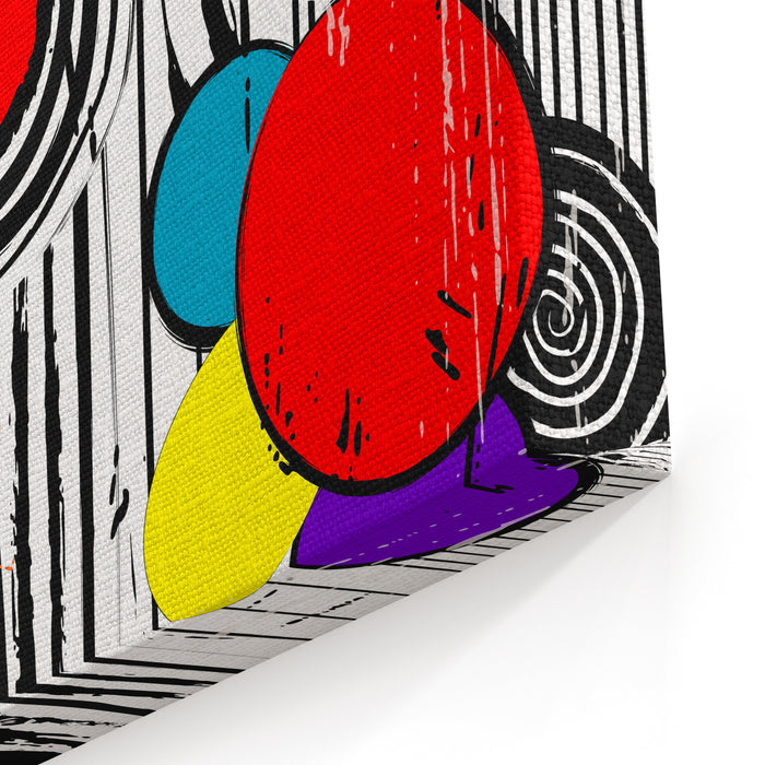 Abstract Background Illustration, With Strokes, Splashes And Circles Canvas Wall Art Print