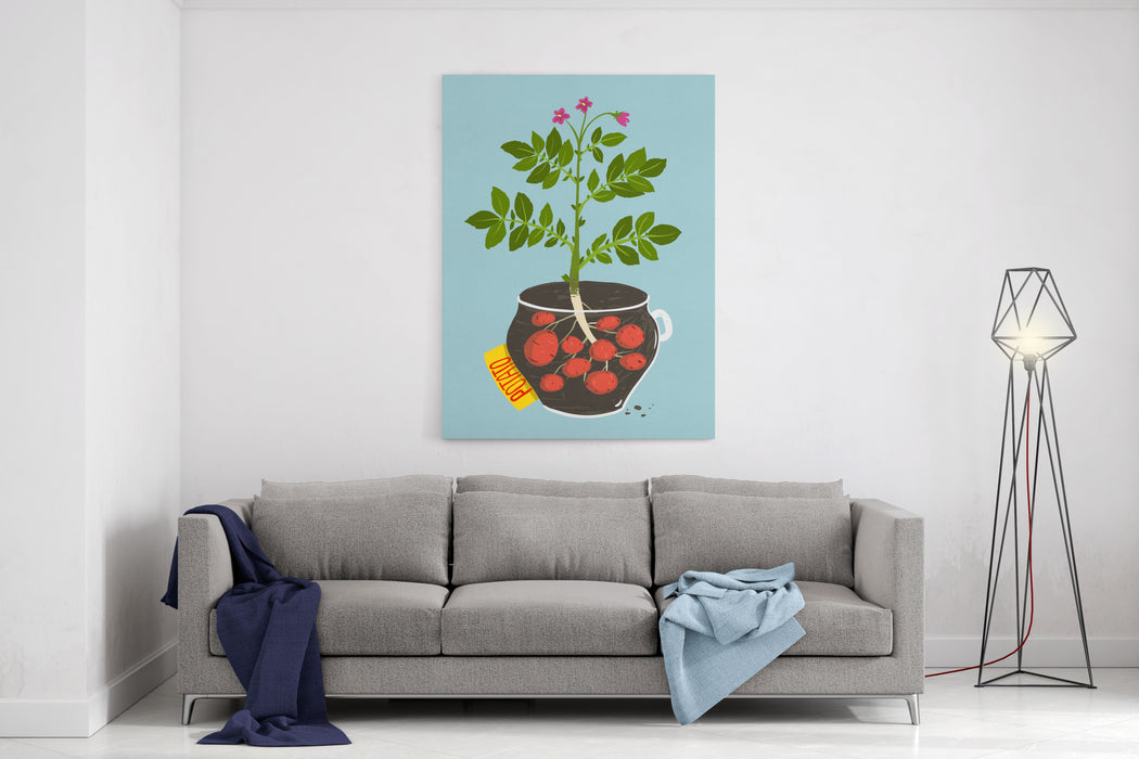 Growing Potato With Green Leafy Top In Pot Vegetable Container Gardening Illustration Raster Variant Canvas Wall Art Print