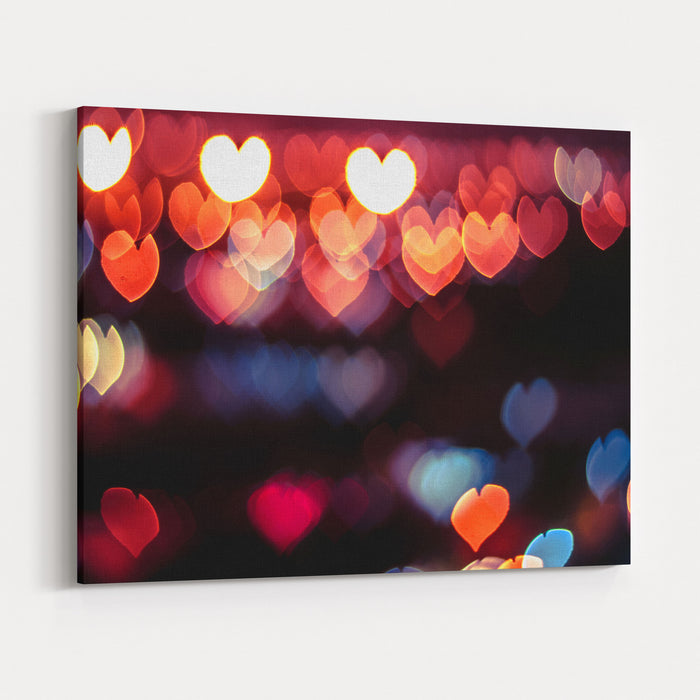 Abstract Love Or Heart Shape Bokeh Background Of Town In Malaysia Canvas Wall Art Print