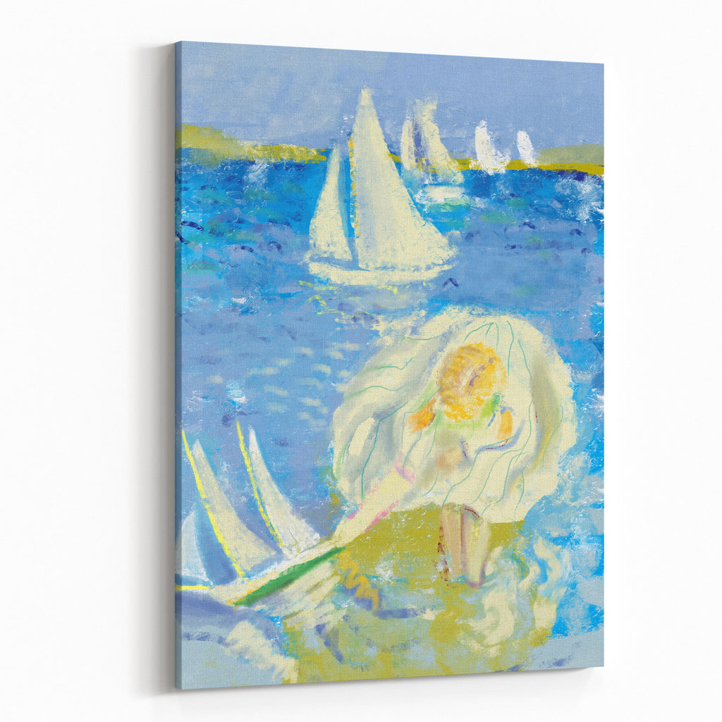 Image of a little girl who plays on the shore canvas wall art print
