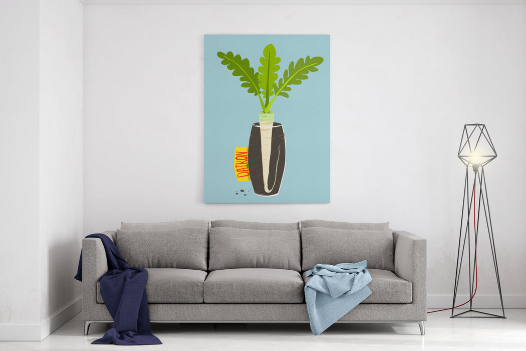 Growing Daikon Radish With Green Leafy Top In Vase Root Vegetable Container Gardening Illustration Layered Vector EPS Canvas Wall Art Print