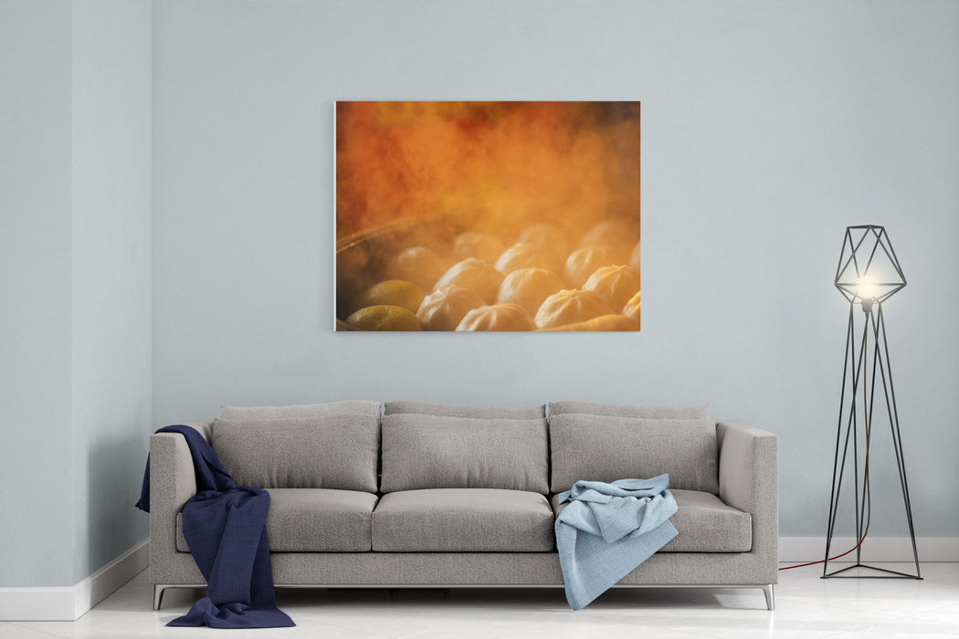 Chinese Dumplings Being Steamed On The Traditional Bamboo Pan Canvas Wall Art Print