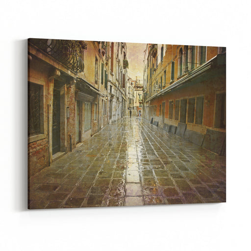 Artistic Work Of My Own In Retro Style  Postcard From Italy  Rain In Venice Canvas Wall Art Print