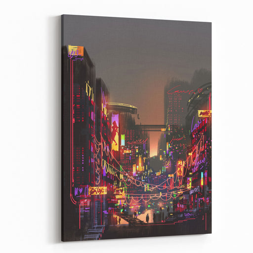 Cityscape Digital Painting Of Building Canvas Wall Art Print