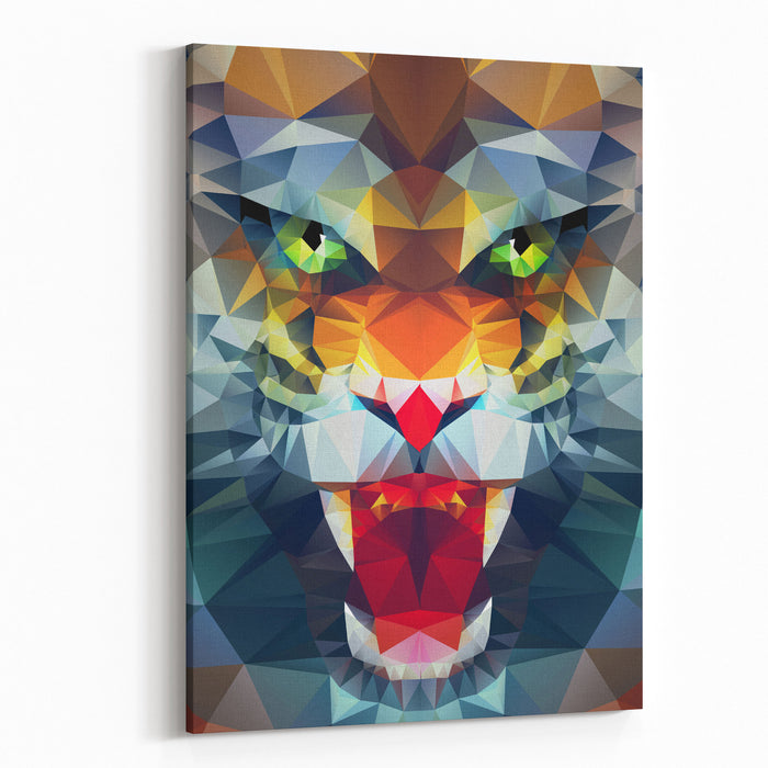 Abstract Polygonal Tiger Geometric Hipster Illustration Polygonal Poster Canvas Wall Art Print