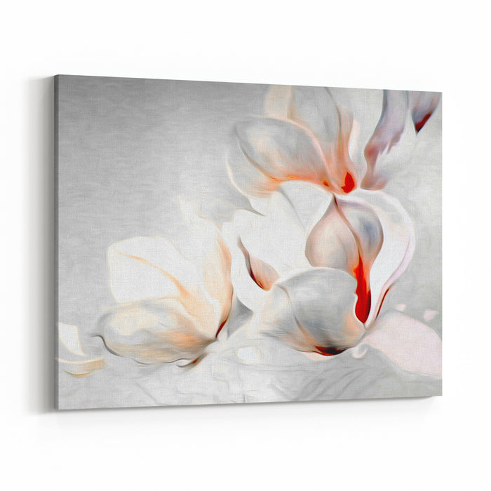 Fantastic Gentle Abstract Monochrome Magnolia Blossoms On Textural Background White Petals And Buds Of Flowers On A Gray Background With Red Accents Canvas Wall Art Print