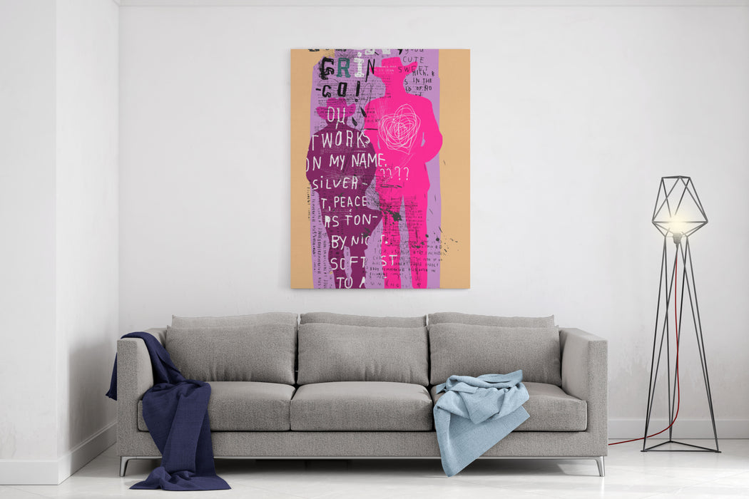 Male Silhouette On A Purple Background Canvas Wall Art Print