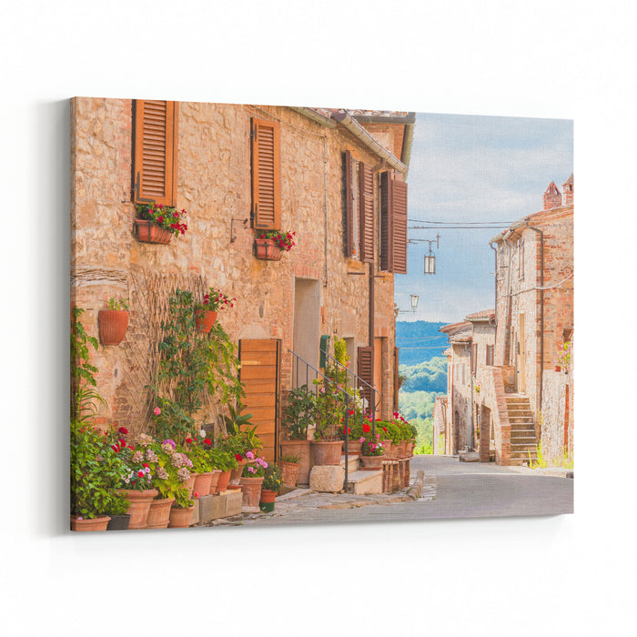 The Medieval Old Town In Tuscany Italy Canvas Wall Art Print