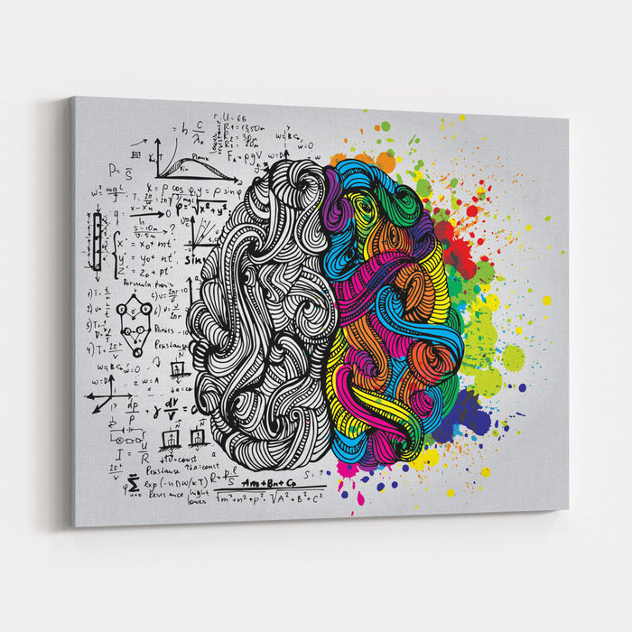 Creative Concept Of The Human Brain, Vector Illustration Canvas Wall Art Print