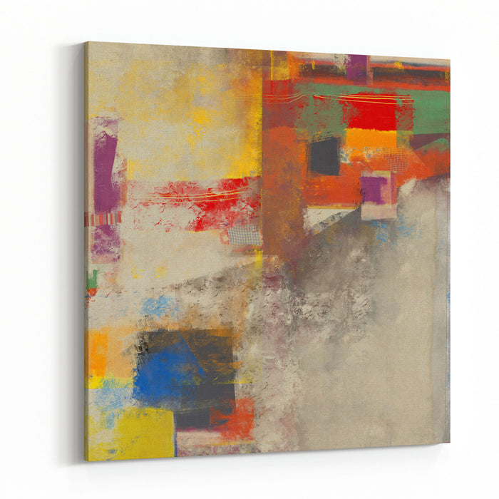Abstraction, Which Consists Of A Plurality Of Color Patches Canvas Wall Art Print