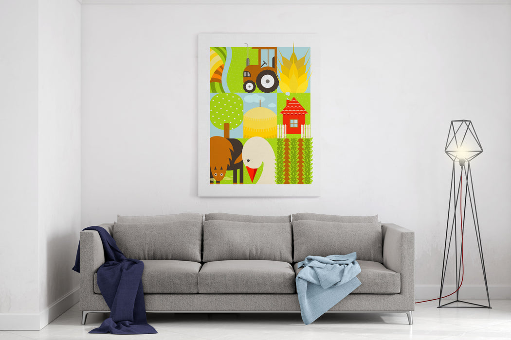 Flat Childish Rectangular Agriculture Farm Set Country Design Collection  Raster Variant Canvas Wall Art Print