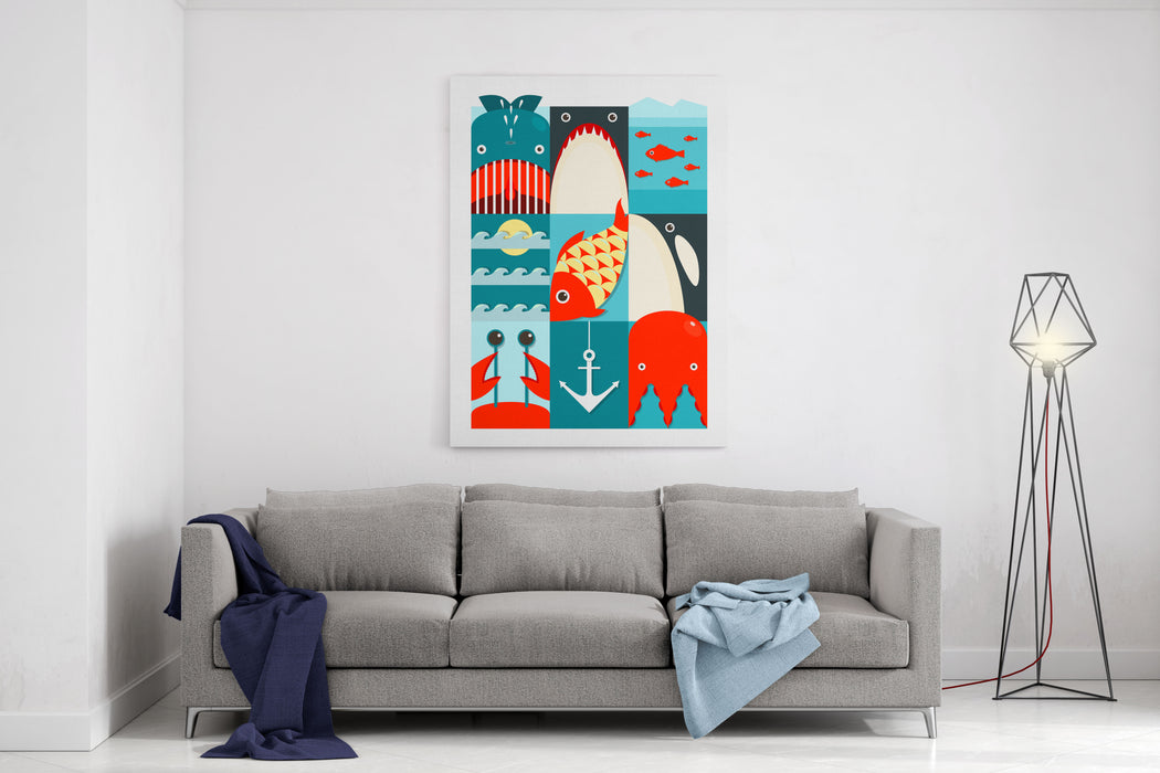 Flat Sea And Fish Rectangular Nautical Set Marine Design Collection  Raster Variant Canvas Wall Art Print