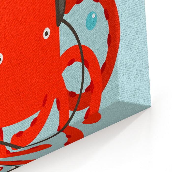Red Octopus Listening To Smartphone Music Underwater Headphones Listener Vector Layered EPS Illustration Canvas Wall Art Print