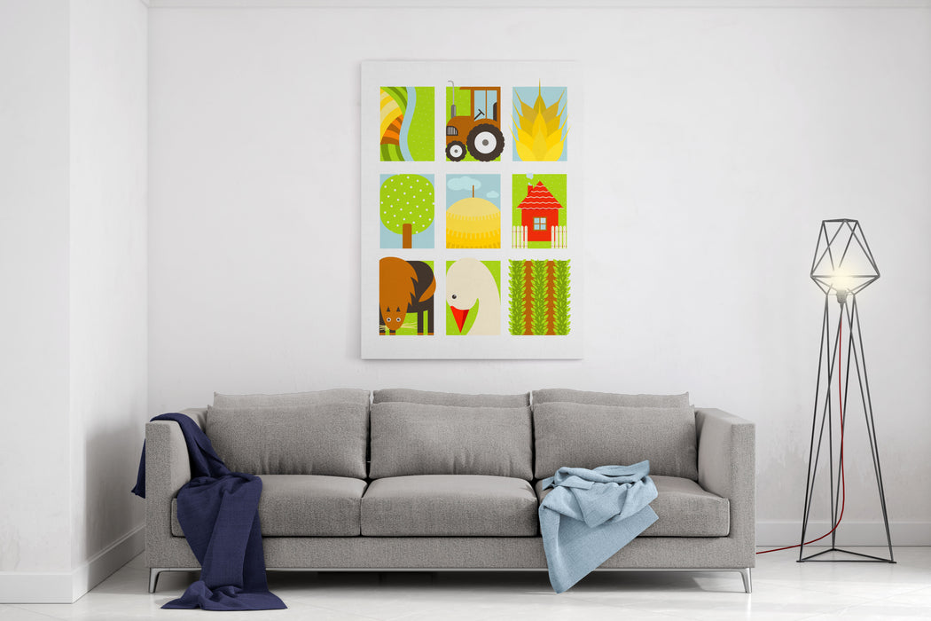 Flat Childish Rectangular Agriculture Farm Set Country Design Collection Vector Layered EPS Illustration Canvas Wall Art Print