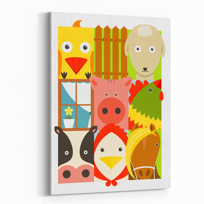 Flat Childish Rectangular Cattle Farm Animals Set Animals Design Collection Vector Layered EPS Illustration Canvas Wall Art Print